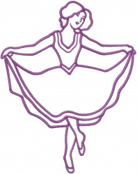 Dancer Outline embroidery design