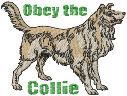 Obey the Collie embroidery design