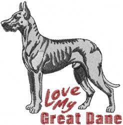 Great Dane Love embroidery design