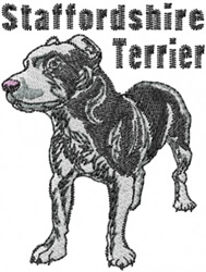 Stafshire Terrier embroidery design