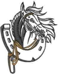 Horse with Horseshoe embroidery design
