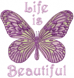 Butterfly Life is Beautiful embroidery design