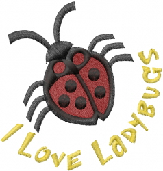 Love the Ladybug embroidery design