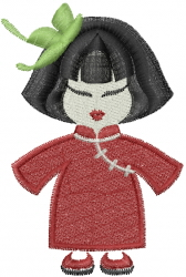 Chinese Girl embroidery design
