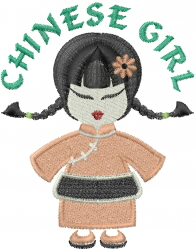 Chinese Maid GIRL embroidery design