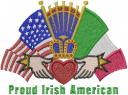Claddaugh Ring Flags embroidery design