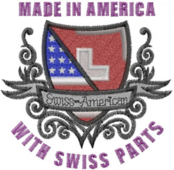 Swiss American Flag embroidery design