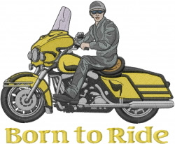 Motorcycle Rider embroidery design