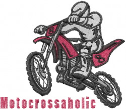 Motocross driver embroidery design