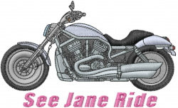 Jane Riding Motorcycle embroidery design