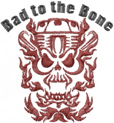 Motorcycle skull embroidery design