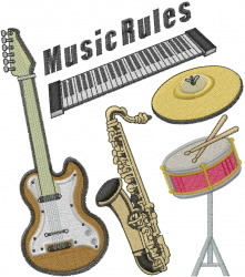 Music Rules embroidery design