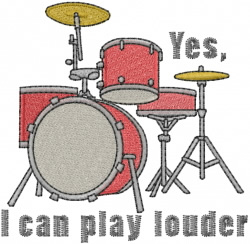 Drums playing louder embroidery design