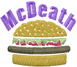 Burger McDeath embroidery design