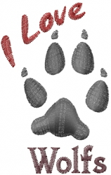 Gray Wolf Paws embroidery design