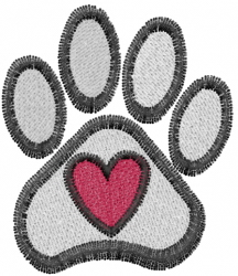 Paws & Heart embroidery design