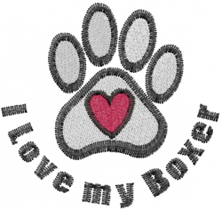 Boxer Paws embroidery design