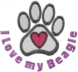 Beagle Paws embroidery design