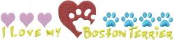 Boston Terrier Paws embroidery design