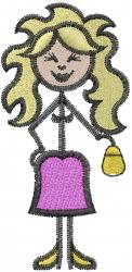 Stick figure embroidery design