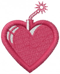 Valentines Heart Bomb embroidery design