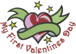 First Valentines Day embroidery design