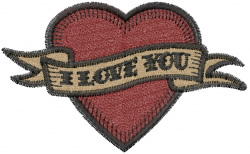 Love You Heart embroidery design