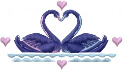 Swans Kissing embroidery design