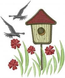 Birdhouse in Garden embroidery design