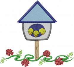Birdhouse with Chicklets embroidery design