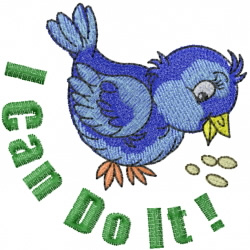 Bluebird Can Do It embroidery design