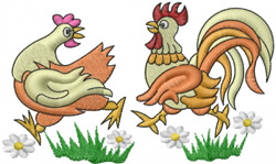 Chicken and Rooster embroidery design