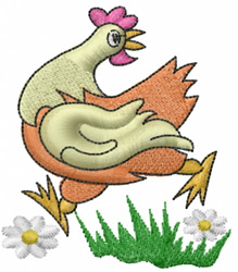 Chicken Escaping embroidery design