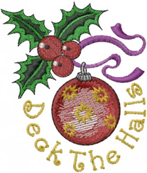 Ornament with Holly embroidery design