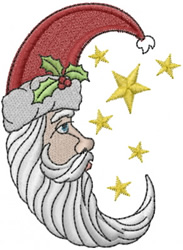 Christmas Santa Moon embroidery design