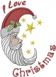 Christmas Santa Moon embroidery design