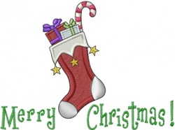 Merry Christmas Stocking embroidery design