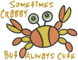 Sometimes Crabby embroidery design