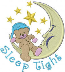 Crescent Moon Bear embroidery design