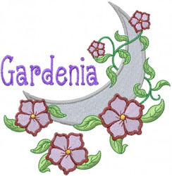 Moon with Vines embroidery design