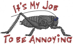 Annoying Cricket embroidery design