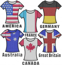 T-Shirts with Flags embroidery design