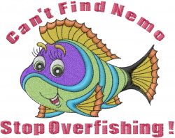 Stop Overfishing embroidery design