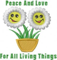 Peace & Love embroidery design