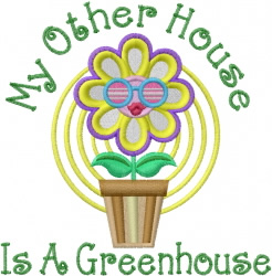 Greenhouse Flower embroidery design