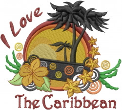 Caribbean Scene embroidery design