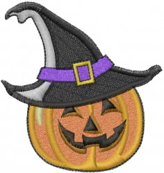 Halloween Witch Pumpkin embroidery design