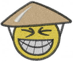Happy Asian face embroidery design