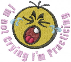 Crying Baby Practicing embroidery design