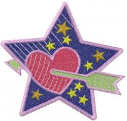 Heart Star Valentine embroidery design